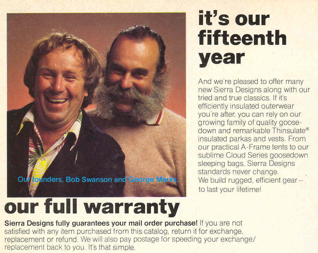 Sierra Designs Founders 1980