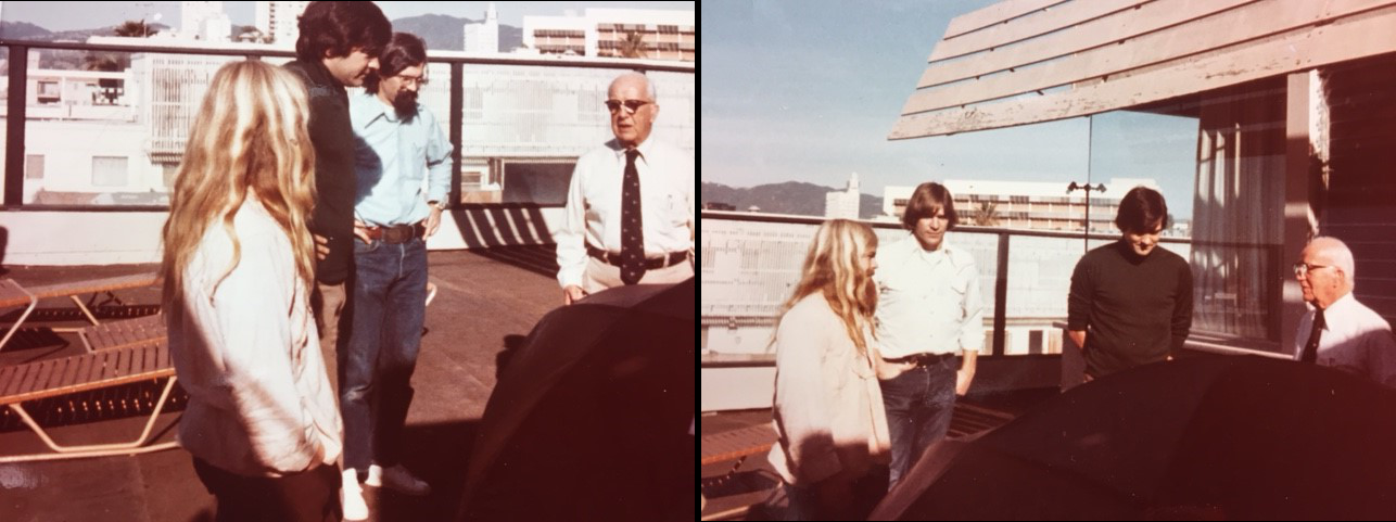 Photo 1: Bob Gillis, Jim Shirley, Mark Erickson and Bucky Fuller; Photo 2: Bob, Mark, Bruce Hamilton & Bucky