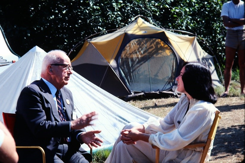 Bucky Fuller Using the Oval Intention as a Backdrop