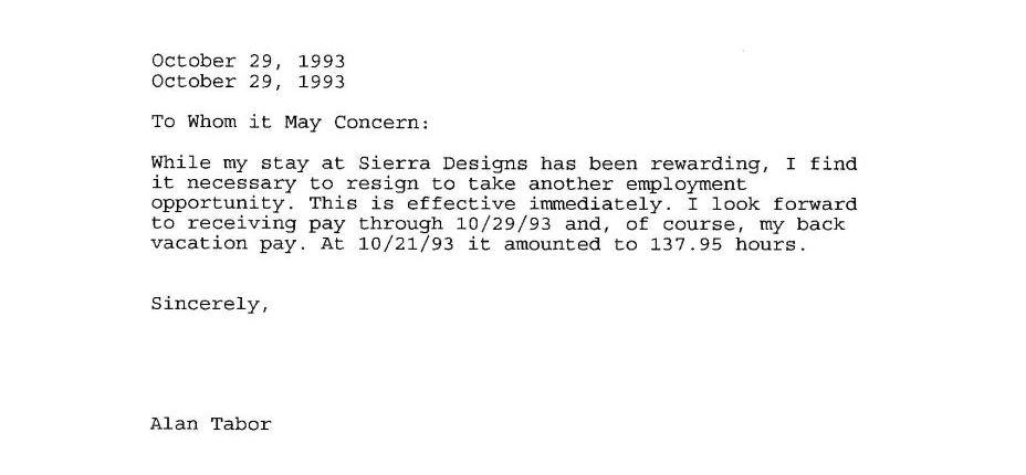 Al Tabor's Resignation Letter from Sierra Designs ...