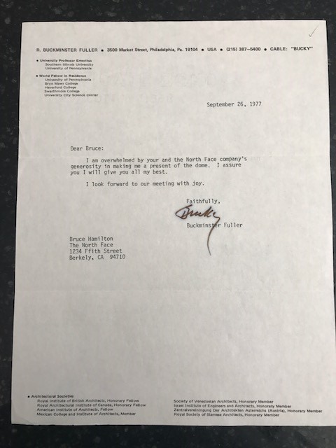 Bucky Coming to TNF to pick up tent letter 9/26/77