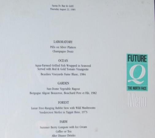 Menu from The North Face's Future Q