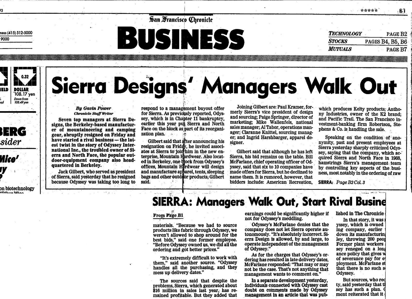 SF Chronicle 11/2/1993 - Sierra Designs Managers Walk Out