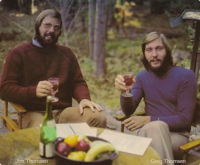 Jim Thomsen and Greg Thomsen first toast 1975