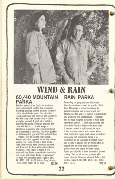 60/40 Parka in 1968 Sierra Designs Catalog