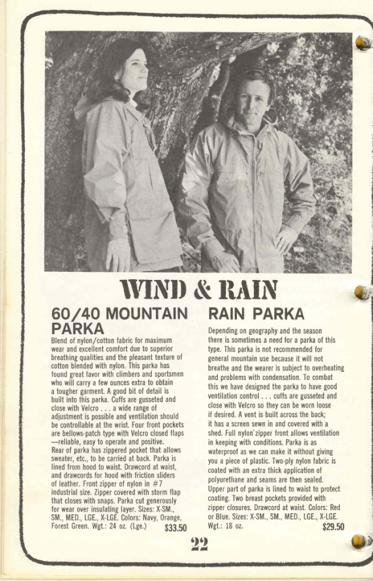 60/40 Parka in 1968 Sierra Designs Catalog