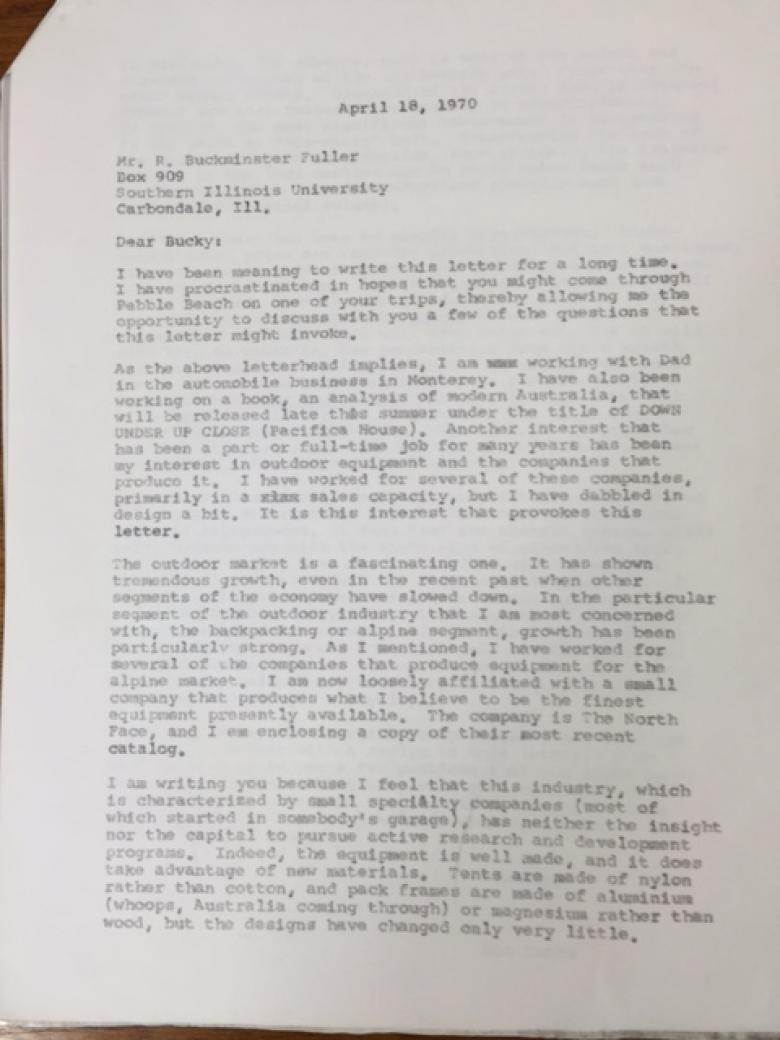 Don Butts letter to Bucky Fuller 1970 pg 1