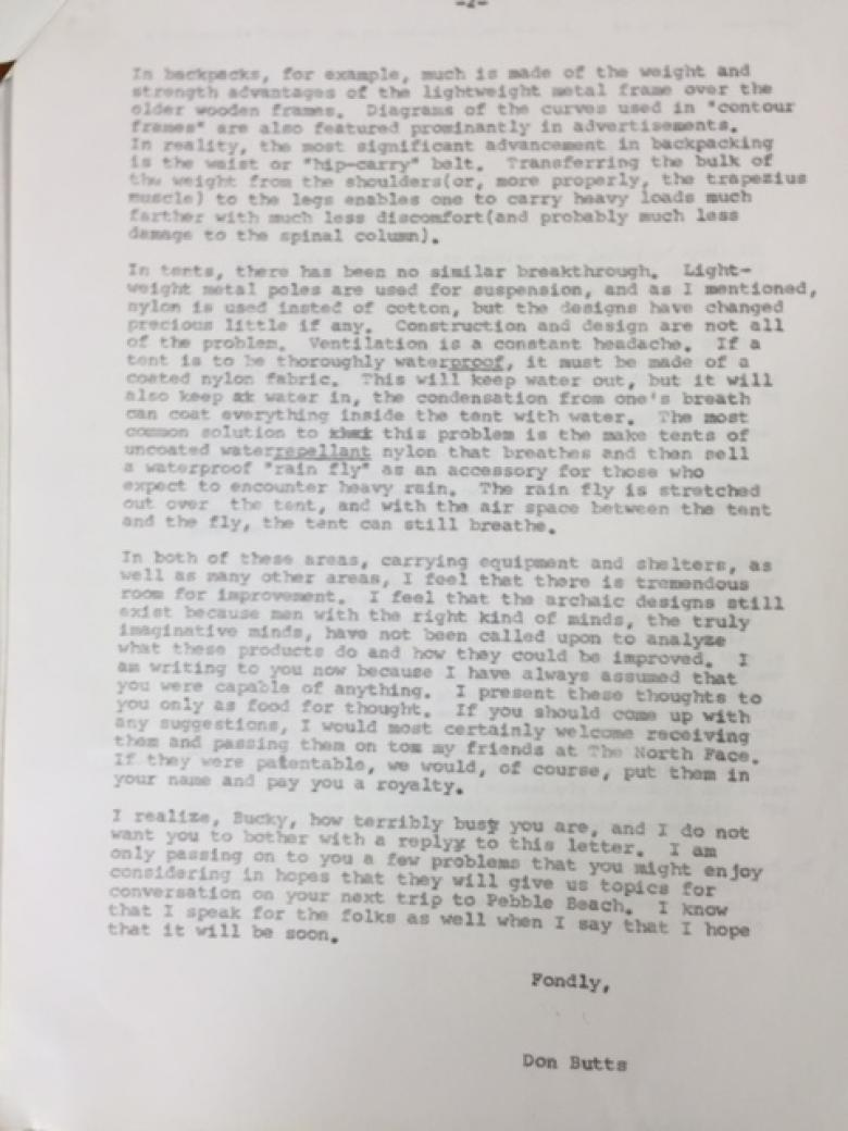 Don Butts letter to Bucky Fuller 1970 pg 2