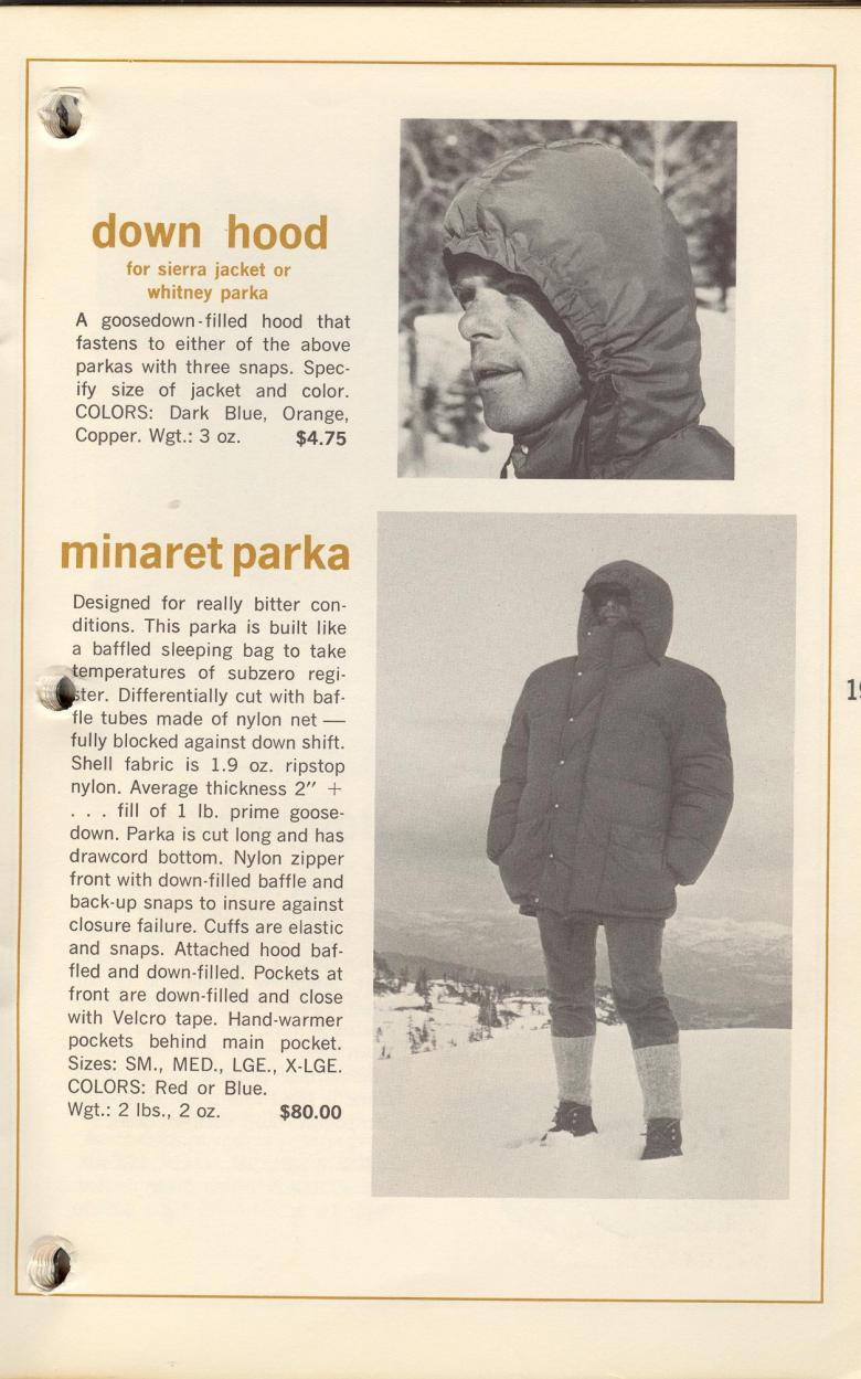 John Oliver with hood, Bob Swanson with  Minaret parka