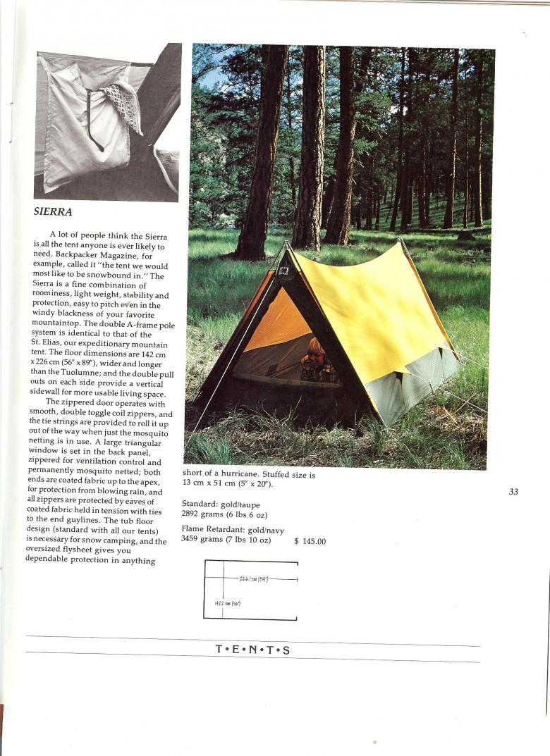 The North Face 1975 Catalog - Sierra Tent