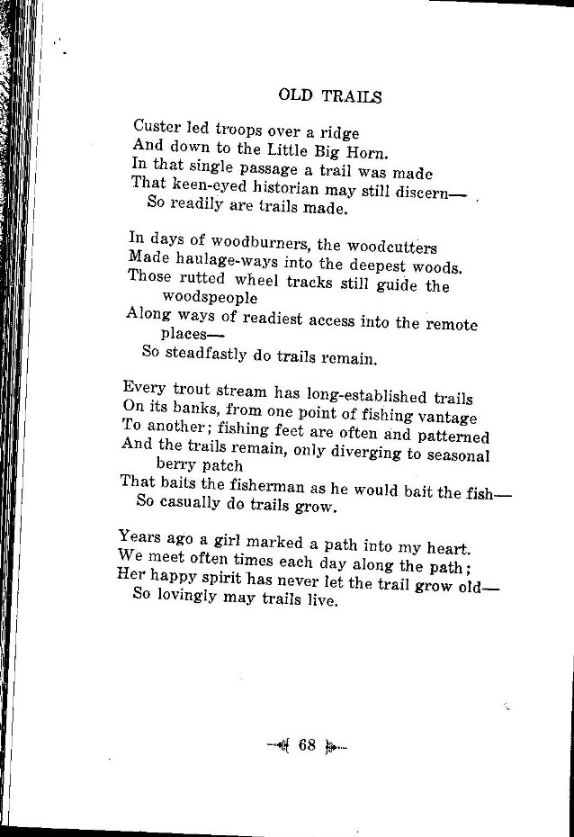 C Wesley Potter Poem - Old Trails