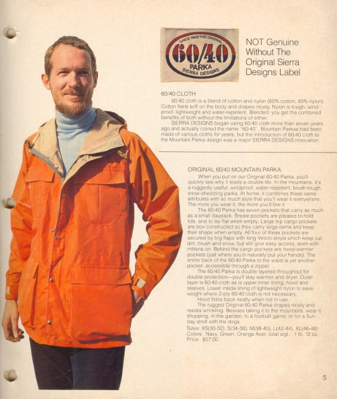 1970's Sierra Designs Catalog 60/40 Parka image with Bob Woodward
